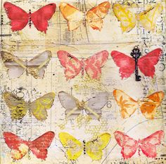 Butterfly collage.  Love the old fashion key embellishment.  By christy tomlinson