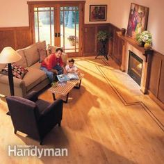 How to Lay Hardwood Floor With a Contrasting Border - Get #DIY project: http://www.familyhandyman.com/floor/hardwood-floors/how-to-lay-hardwood-floor-with-a-contrasting-border