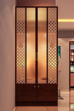 Interior Designers in Bangalore - Brigade Exotica Kitchen Room Design, Home Room Design, Home Interior Design, House Design, Jalli Design, Kitchen Decor, Living Room Partition Design, Room Partition Designs, Temple Design For Home