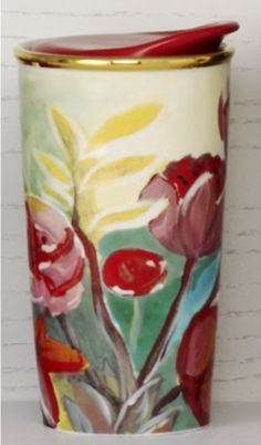 Double-walled ceramic mug with beautiful painted flower design. #Starbucks #DotCollection
