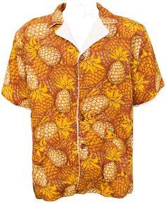 58cb0860 1950s XL Shirt Mens Terrycloth Hawaiian Polynesian Tropical Tiki Rockabilly  Beach Retro Pineapple Royal Playboy Miami Vacation Resort Madmen. Party  Costumes ...