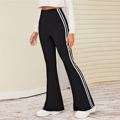 Women's Casual Striped High-Waist Stretchy Pants | ZORKET | Material: Polyester, Spandex • Length: Full Length • Style: Flat, Casual, Flare Pants • Decoration: NONE • Type: Elastic Waist, High, Solid, Broadcloth, REGULAR