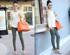 Olive green with a pop of orange-MayteDoll