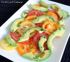Avocado; tomatoes; Olive oil; salt pepper; red wine vinegar.... Think I'd add thin sliced red onion