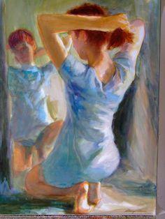 Uzonyi Ferenc: Lány tükör előtt Lany, Painting, Painting Art, Paintings, Painted Canvas, Drawings
