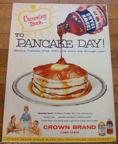 1950s Crown Brand Corn Syrup Pancake Day ad