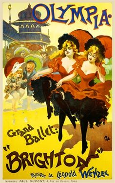 Olympia by PAL 1896 France - Beautiful Vintage Poster Reproduction. This vertical French theater and exhibition poster features two identical girls dancing with parasol while children look on dancing with them. Giclee Advertising Print. Classic Posters