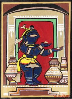 View Krishna Stealing Butter by Jamini Roy on artnet. Browse upcoming and past auction lots by Jamini Roy. Phad Painting, Worli Painting, Saree Painting, Pichwai Paintings, Indian Art Paintings, Madhubani Art, Madhubani Painting, Jamini Roy, Bengali Art