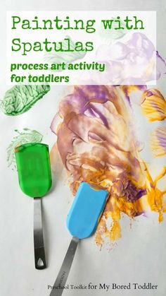 painting with spatulas process art for toddlers