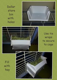 Create a cheap hay rack for your guinea pig or rabbit. It keeps hay from falling…