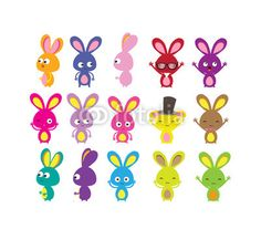 Happy Easter bunny colorful set