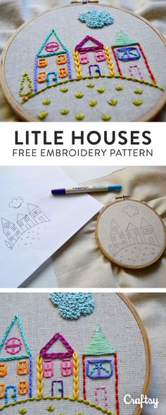 There is something so sweet about a hand embroidered houses, isn't there? With this simple template, you can customize the design by adding all kinds of stitches. Get the free intermediate pattern to start stitching.