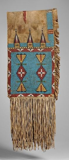 Saddlebags; Lakota Sioux, Double, Beaded Buffalo Hide, Geometric Design, German Silver Buttons, 74 inch. Native American Images, Native American Artifacts, American Indian Art, Native American History, Native American Indians, Native Americans, Native Beadwork, Native American Beadwork, Indian Quilt