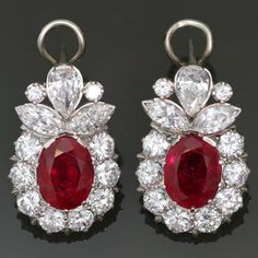 Ruby and Diamond Platinum Earrings - ctw oval rubies - cttw diamonds Platinum Earrings, Ruby Earrings, Bridal Earrings, Diamond Earrings, Circle Earrings, Ruby Jewelry, Gems Jewelry, Gemstone Jewelry, Antique Jewelry