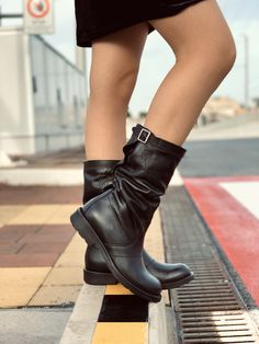 Biker Boots in Vera Pelle Made in Italy Combat Rock Boots Kikkiline love shoes