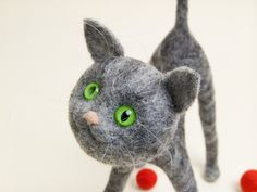 Needle Felted Cat Miniature by felttess on Etsy