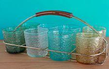 Fab Mid Century Modern Rocks Glasses Set with Caddy & Teak Wood Handle
