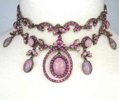 Vintage Edwardian Amethyst & Diamond Choker Necklace circa 1900-1910