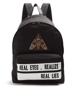 GIVENCHY Real Lies-Print Backpack. #givenchy #bags #canvas #lace #leather #lining #backpacks #cotton #