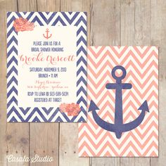 Nautical Chic Fl Chevron Navy And C Bridal Shower Invitation Baby Invite Printable Or Professionally Printed Cards