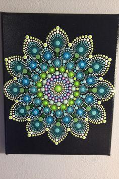 Hand Painted Mandala on Canvas, Meditation Mandala, Calming, Healing, #482 by MafaStones on Etsy