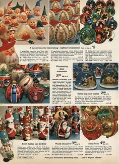 Christmas Ornaments in Montgomery Ward Christmas Catalog, 1968, by Wishbook, via Flickr.  We had the elf head lights shown at top left & I still have my mom's Santa & soldiers & figures in ball ornaments shown at bottom.