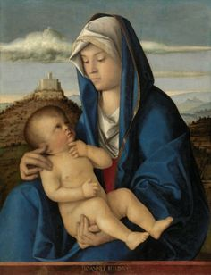 Giovanni Bellini Italian, 1432 /1433-1516 Madonna and Child, c. 1485 Oil  on canvas (transferred from wood panel) 28-9/16 x 21-3/4 inches. Image courtesy The Nelson-Atkins Museum of Art. On view in gallery P8