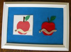 Such a cute activity.  She made her felt board from an old frame.  Will be bookmarking this site.  itty bitty love: matching objects to pictures - apples and worms!