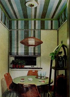 Summer style!! Vintage mid century modern chic breakfast nook! Have those exact chairs around my kitchen table! Love the basket bamboo light! And the striped wallpaper! And matching blind!