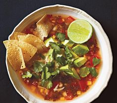 Chickpea and Quinoa Tortilla Soup, yummy vegetarian option!