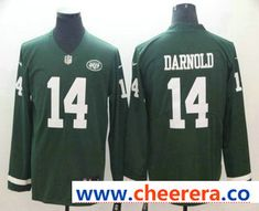 a9d9da55592 Men's New York Jets #14 Sam Darnold Nike Green Therma Long Sleeve Limited  Jersey Nike