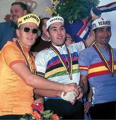 Campionato del Mondo 1967. Heerlen, 3 settembre. Jan Janssen (1940) 2°, Eddy Merckx (1945) 1° e Ramon Saez (1940-2013) 3° sul podio