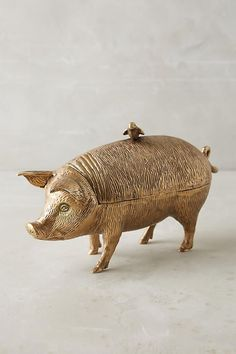 Patinaed Pig Decorative Object from Anthropologie Trendy Home Decor, Home Decor Items, Diy Home Decor, Home Decor Accessories, Decorative Accessories, National Pig Day, Anthropologie, Shops, Apartment Chic
