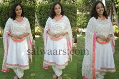 Nitya Menon White Printed Churidar | Indian Dresses