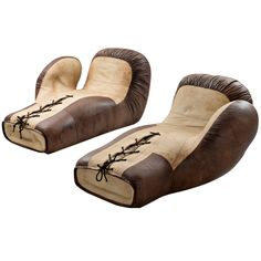 Rare Set of Two De Sede Boxing Glove Chaise Longues in Beige and Brown Leather ca.1970's