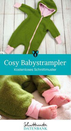 Babystrampler nähen Freebook Babyjumpsuit kostenloses Schnittmuster kostenlose Nähanleitung Nähen Baby Geschenk zur Geburt