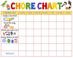 Raise a responsible child: a free printable chore chart for your children.