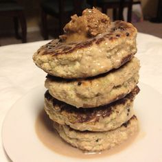Cookies and cream fluffy pancakes: microwave 1/3 cup riced cauliflower (raw cauliflower that's been run through a food processor) for 30 seconds. 1/4 cup coconut flour, 1/2 scoop cookies and cream whey protein, 1/2 medium banana (60g), 1/2 tbsp psyllium husk, 2 egg whites, 3/4 tsp baking powder, 1 stevia packet, and 12 vanilla cream stevia drops.  Topped with cookie dough peanut butter.