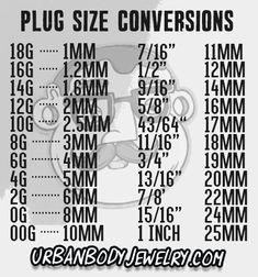 Plugs | Ear Gauges Size Conversion Chart | UrbanBodyJewelry.com