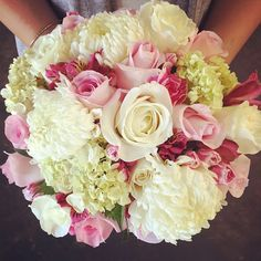WEDDING ! #gorgeous #pink and #white #bridal #bouquet  We #love this #classy and #beautiful combination! Pink #roses #alstroemeria and mini #carnations complimented by #football mums and #hydrangea !