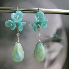 Cluster Blue Bell Flowers and Briolette Dangle by LoveArtMusings  Earrings