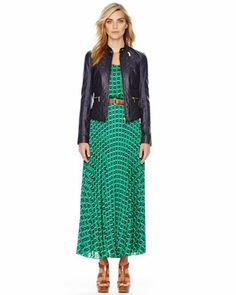 MICHAEL Michael Kors  Quilted Leather Jacket & Sleeveless Printed Maxi Dress. Maybe I like this dress better!