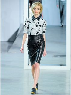 Fall 2012 Fashion Trends - Derek Lam  It's always exciting to pair something as prim as an oxford collar with something as powerful as a black leather pencil skirt.
