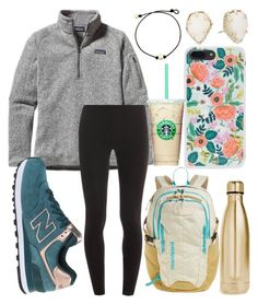 """School outfit"" by jadenriley21 on Polyvore featuring Patagonia, Splendid, New Balance, S'well, Rifle Paper Co and Kendra Scott"