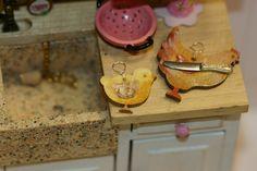Dollhouse Miniature Wooden cutting board, handpainted 1:12th, Rabbit, Chicken…