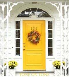 Tone on Tone: Castine Fall Foliage Front Door Entryway, Front Door Decor, Front Entry, Front Doors, Yellow Doors, Front Door Colors, Fall Door, Interior Garden, Grand Entrance