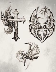 Cross With Wings Tattoo Design By Protxticsdeviantartcom On