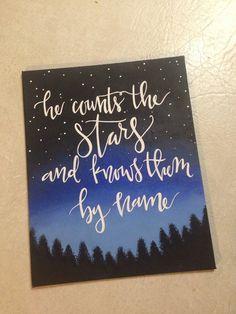 Psalm 147:4 Canvas by CarolinaGirlArt on Etsy