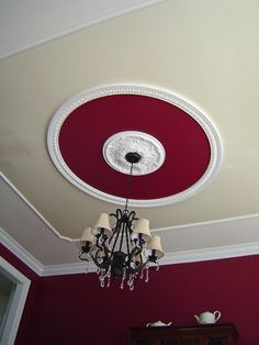 Faux Tray Ceiling = Ceiling Medallion + Crown Molding + Paint