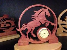 Handcrafted scrollsawn wooden horse miniature clock design by specialtiescrafts on Etsy